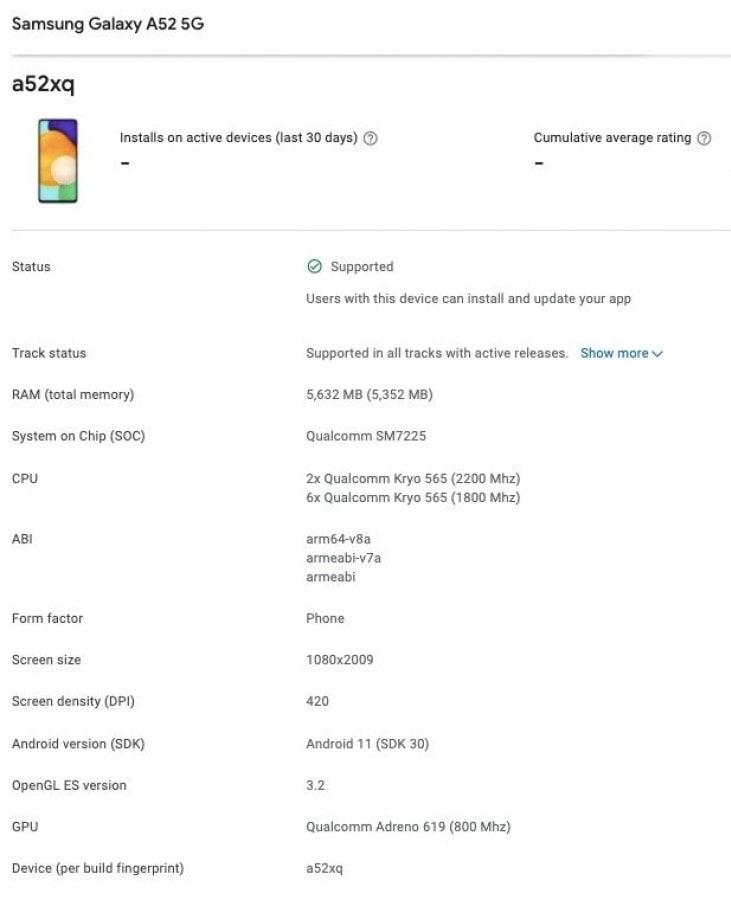 Samsung Galaxy A52 5G появился в Google Play Console