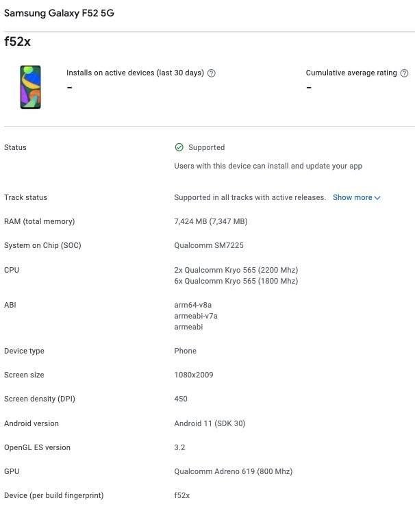 Раскрыты новые подробности о грядущем Samsung Galaxy F52 5G