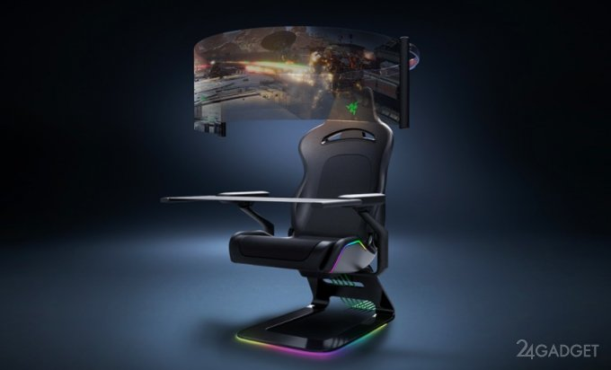 Концепт футуристического геймерского кресла Razer с разворачивающимся OLED-дисплеем и RGB-подсветкой (видео)