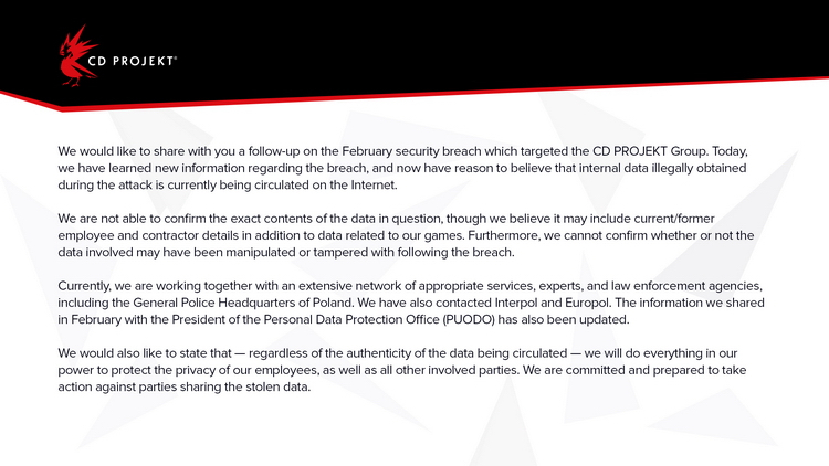 Февральский взлом CD Projekt оказался хуже, чем предполагалось изначально — утекли данные сотрудников
