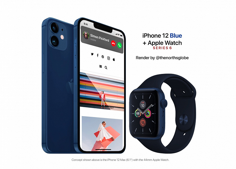 Синий концепт: iPhone 12 Mac и Apple Watch Series 6 за $1150