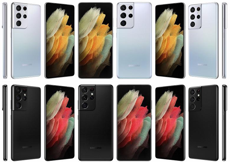 Samsung Galaxy S21, Galaxy S21+ и Galaxy S21 Ultra на официальных рендерах во всех цветах и со всех сторон