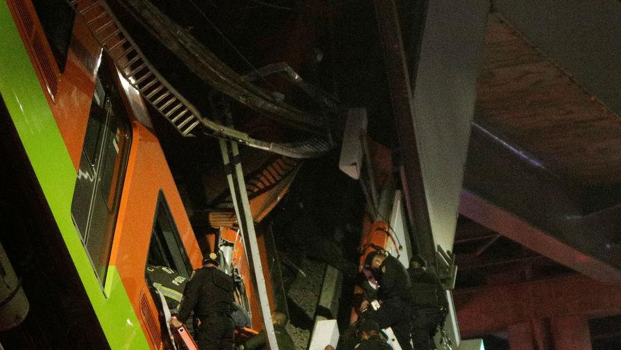 Момент падения моста под поездом в Мехико сняли на видео